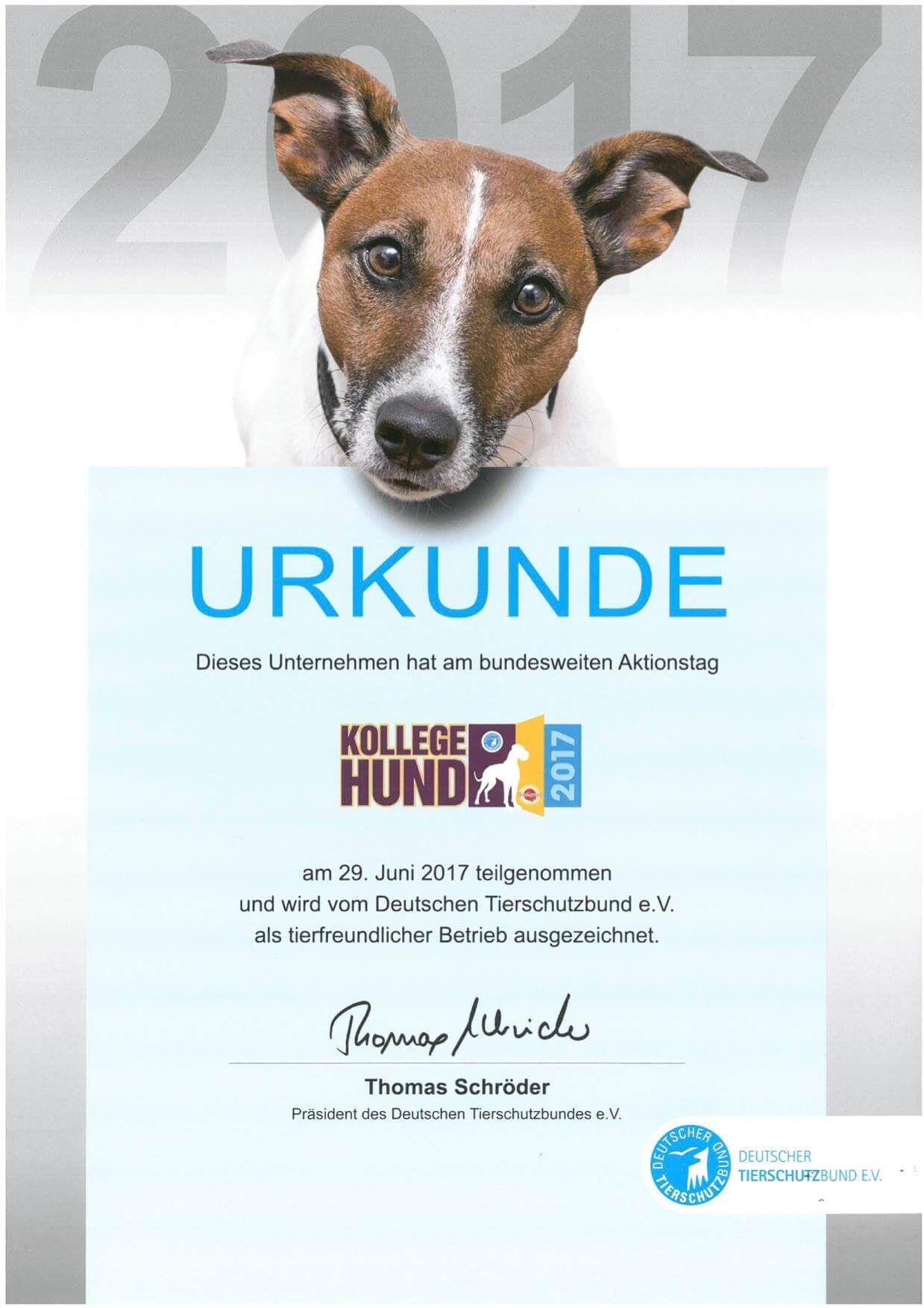 Auszeichnung hundefreundlicher Betrieb 2017